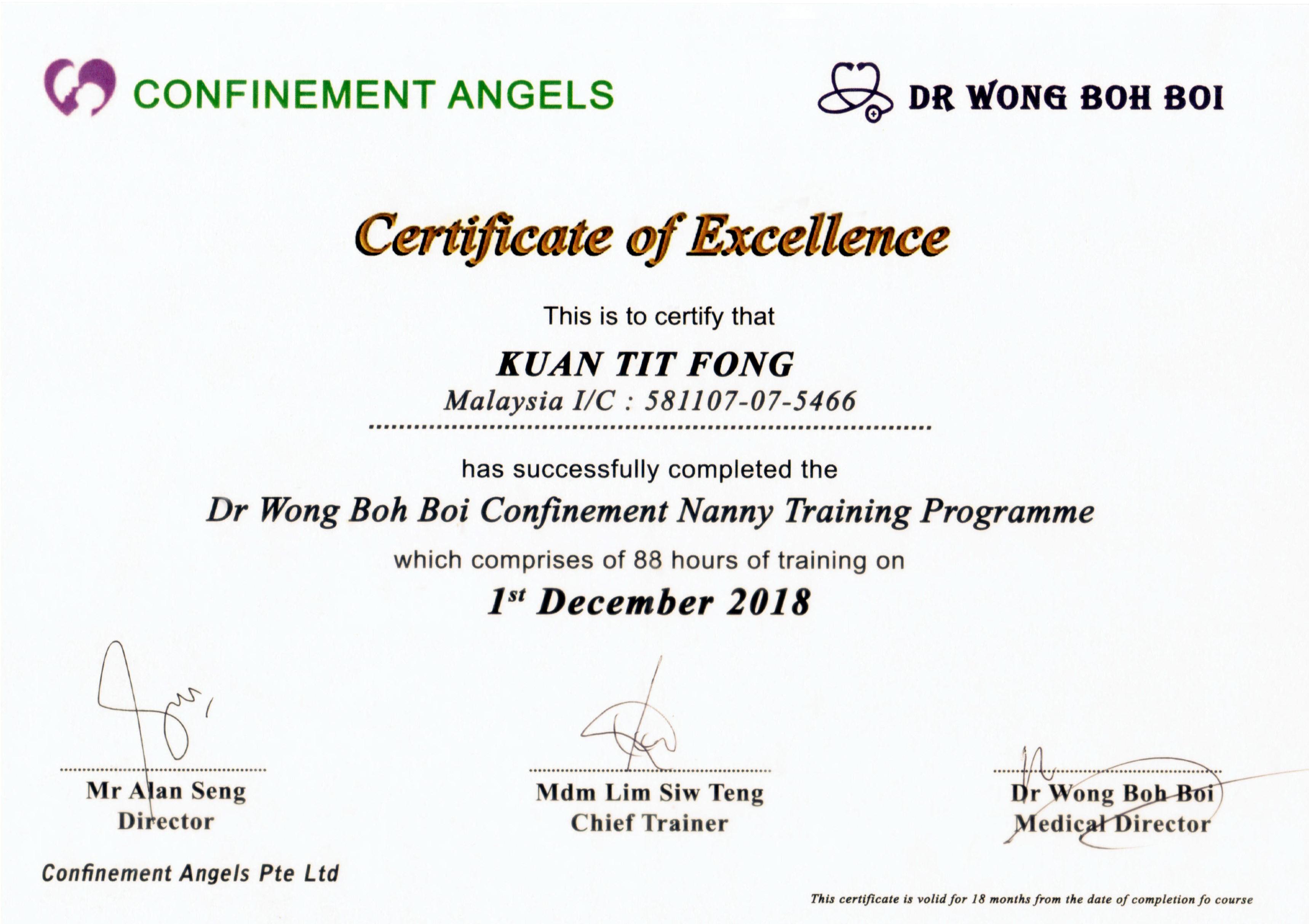 Sok Wah Certificate